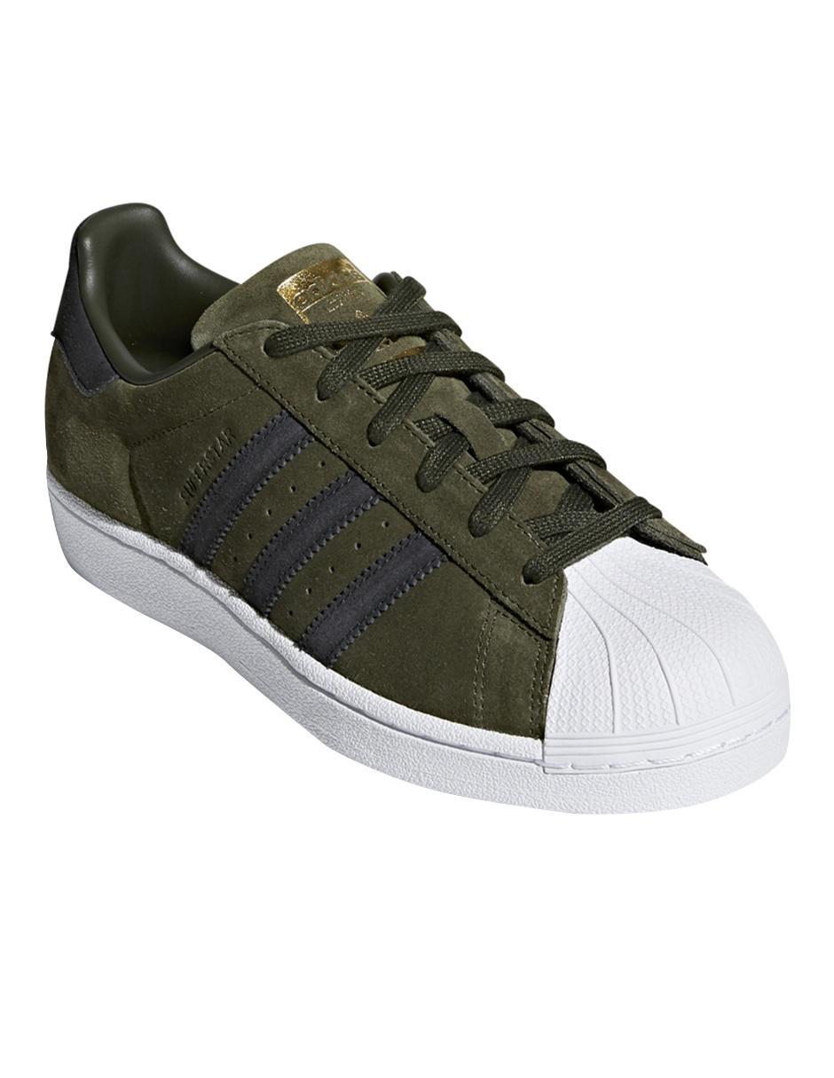 8faf1678ce1 Tenis liso Adidas Originals Superstar verde militar