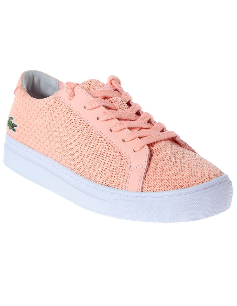82a56fff21409 Tenis con diseño gráfico Lacoste rosa claro