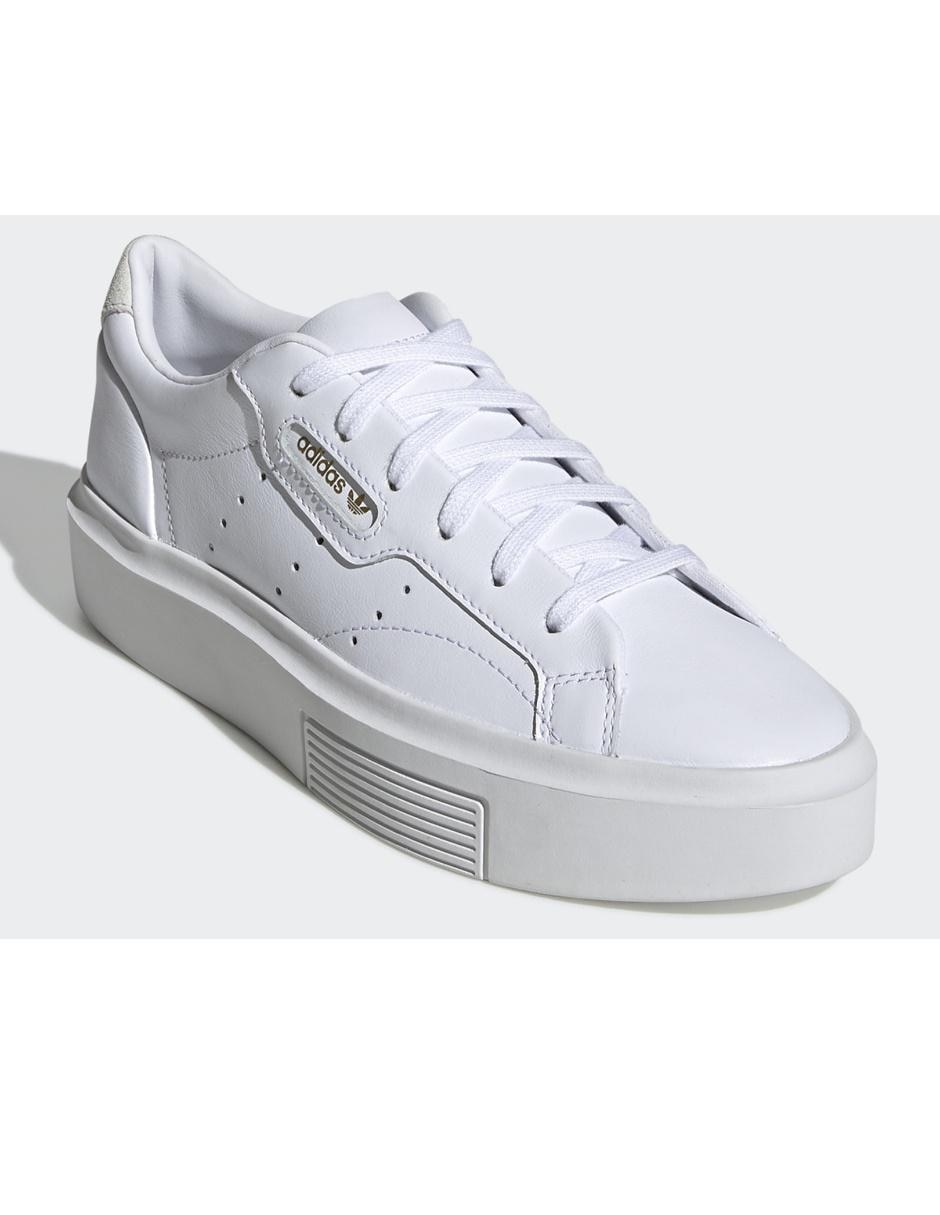 Tenis Adidas Originals Sleek Super blanco con logotipo en