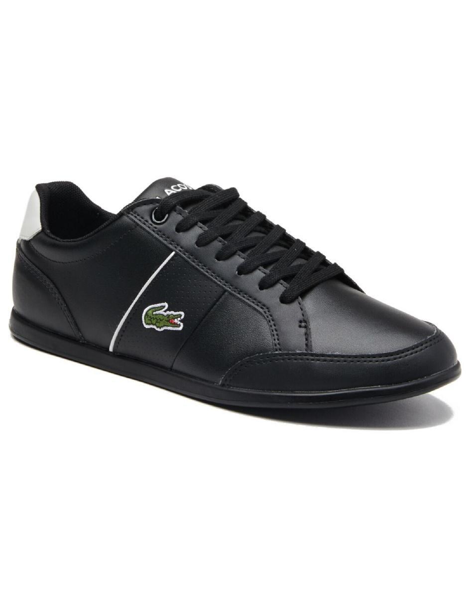 d2aacd97 Tenis Lacoste piel negro con logotipo