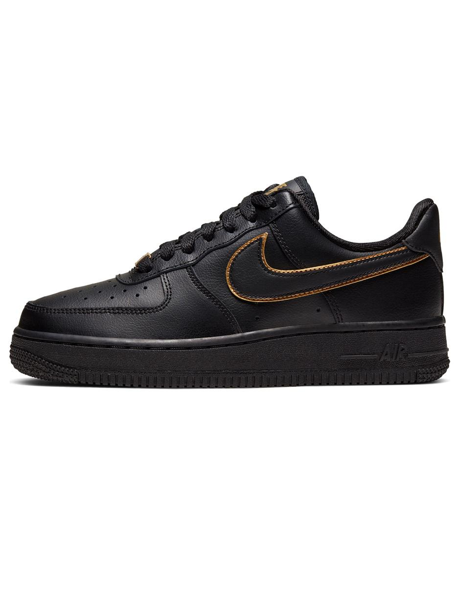 Tenis Nike Air Force 1 piel negro con logotipo