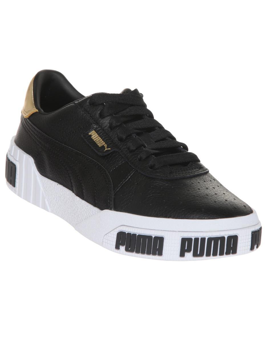 Tenis Puma Cali Bold Metallic piel negro casual